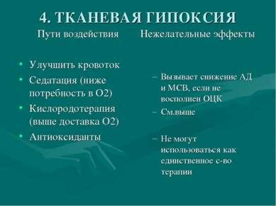 4. ТКАНЕВАЯ ГИПОКСИЯ Пути воздействия Улучшить кровоток Седатация (ниже потре...
