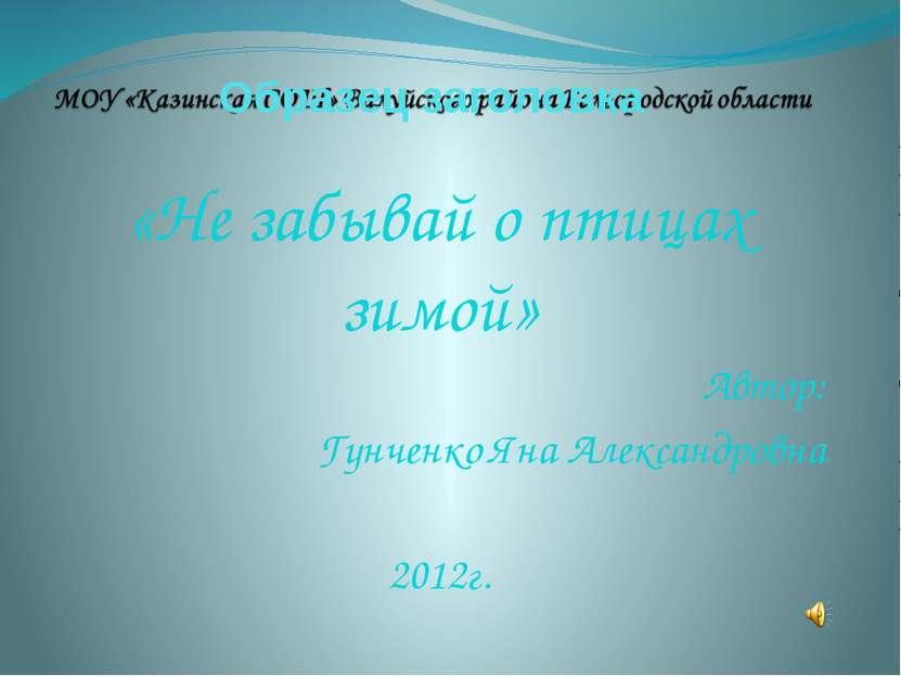 «Не забывай о птицах зимой» Автор: Гунченко Яна Александровна 2012г.