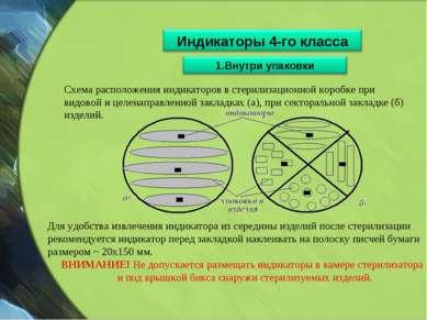 Схема расположения индикаторов в стерилизационной коробке при видовой и целен...