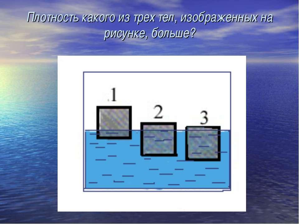Плотность какого из трех тел, изображенных на рисунке, больше?