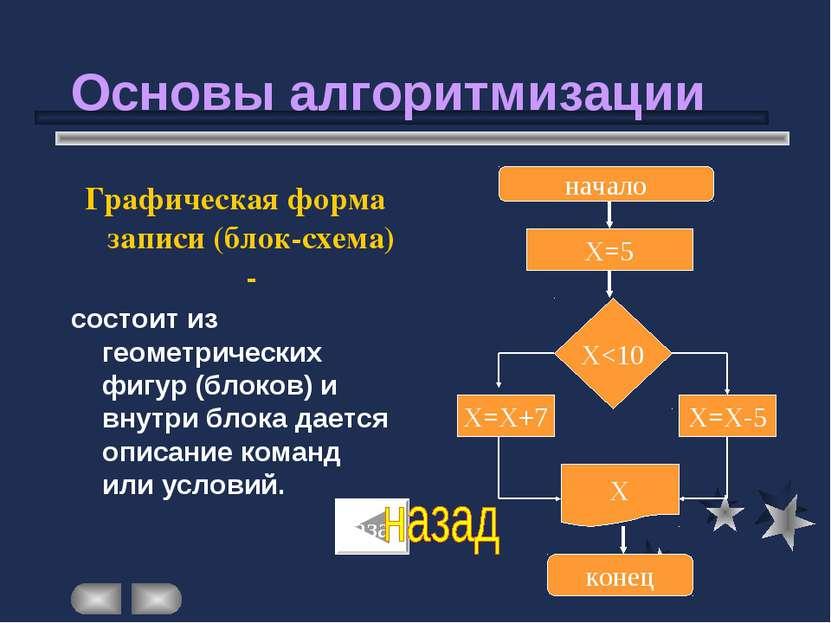 Основы алгоритмизации Графическая форма записи (блок-схема) - состоит из геом...