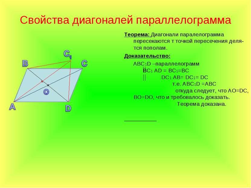 Свойства диагоналей параллелограмма Теорема: Диагонали паралелограмма пересек...