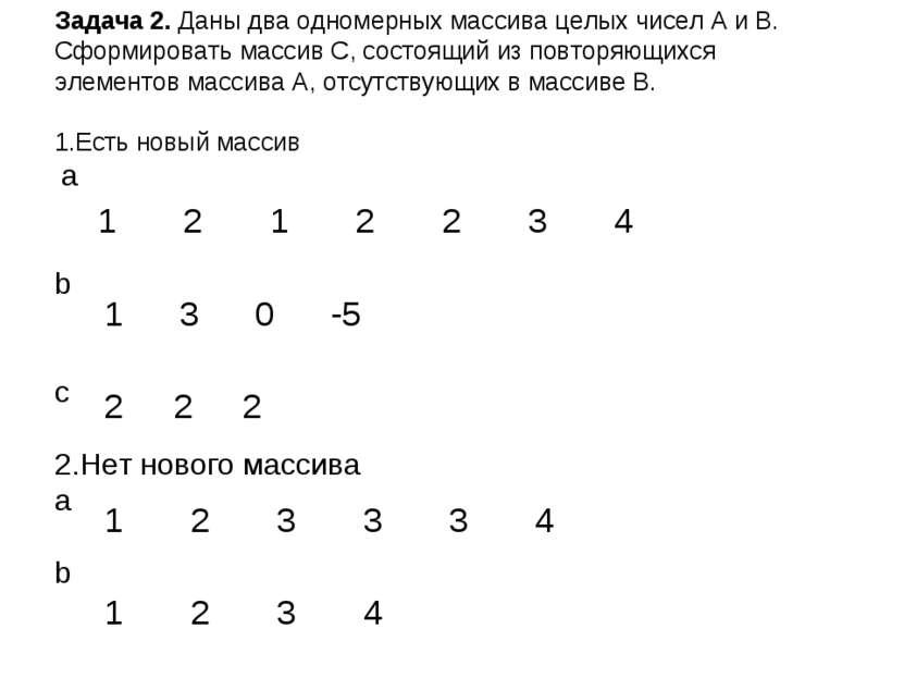 Задача 2. Даны два одномерных массива целых чисел A и B. Сформировать массив ...