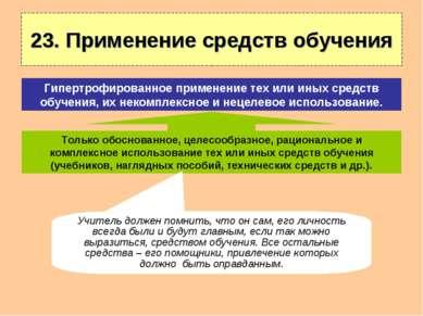 23. Применение средств обучения Только обоснованное, целесообразное, рационал...