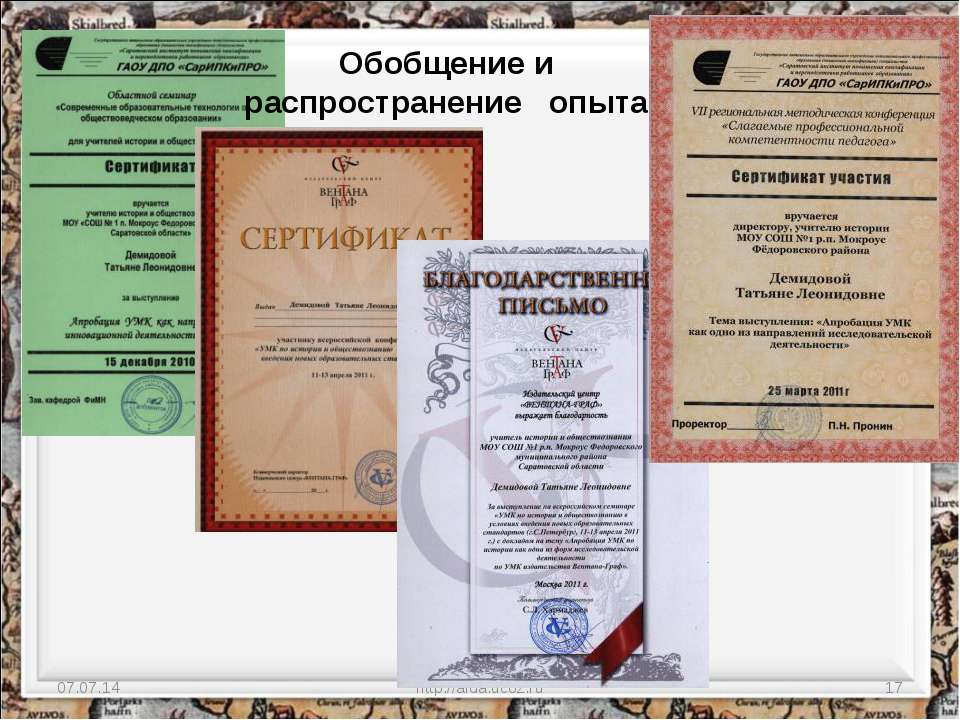 * http://aida.ucoz.ru * Обобщение и распространение опыта http://aida.ucoz.ru