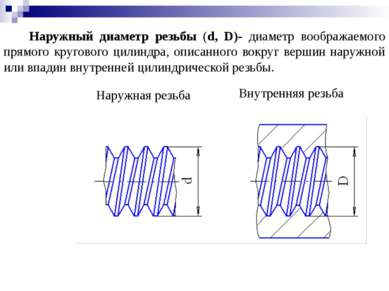 Наружный диаметр резьбы (d, D)- диаметр воображаемого прямого кругового цилин...
