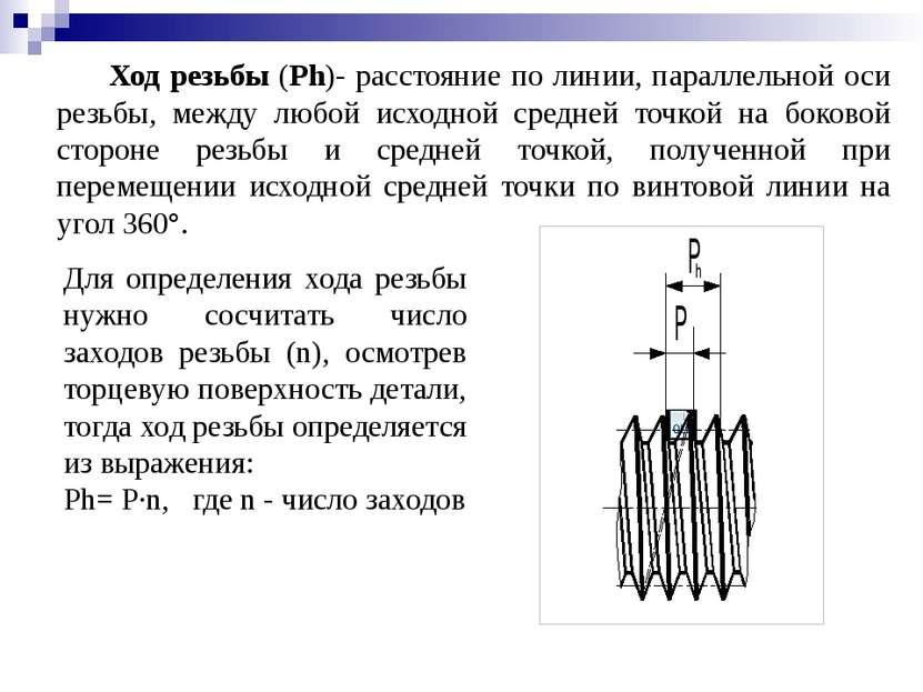 Ход резьбы (Ph)- расстояние по линии, параллельной оси резьбы, между любой ис...