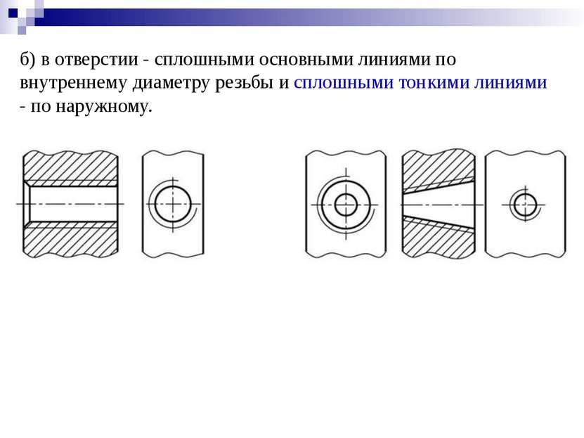 б) в отверстии - сплошными основными линиями по внутреннему диаметру резьбы и...