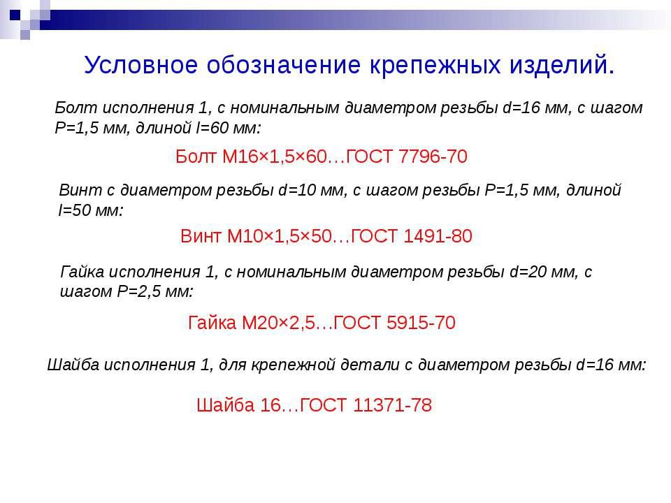 Условное обозначение крепежных изделий. Болт М16×1,5×60…ГОСТ 7796-70 Болт исп...