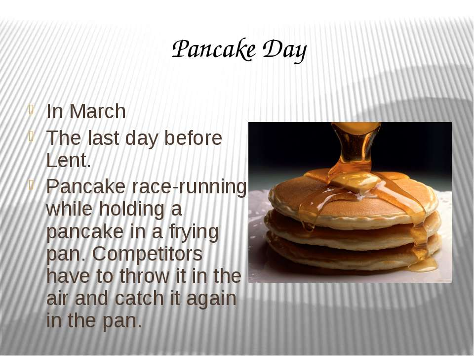 Pancake Day In March The last day before Lent. Pancake race-running while hol...