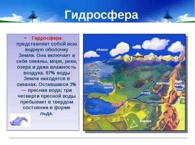Гидросфера Гидросфера представляет собой всю водную оболочку Земли. Она включ...