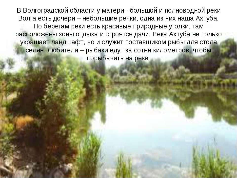 В Волгоградской области у матери - большой и полноводной реки Волга есть доче...