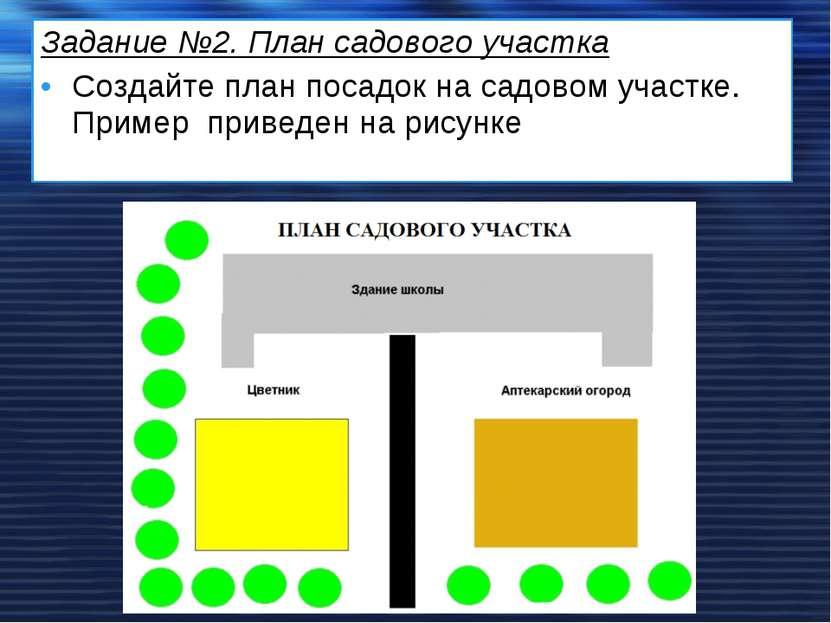 Задание №2. План садового участка Создайте план посадок на садовом участке. П...