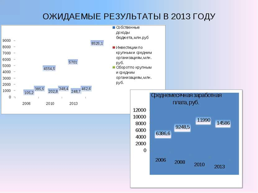 ОЖИДАЕМЫЕ РЕЗУЛЬТАТЫ В 2013 ГОДУ