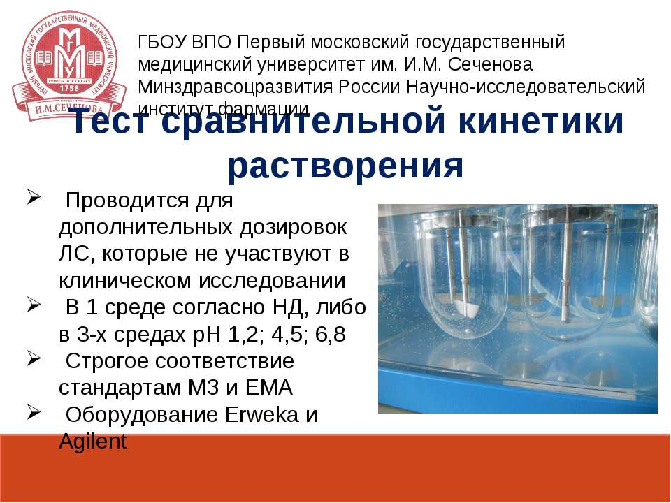 Тест сравнительной кинетики растворения Проводится для дополнительных дозиров...