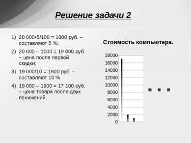 20 000•5/100 = 1000 руб. – составляют 5 %; 20 000 – 1000 = 19 000 руб. – цена...