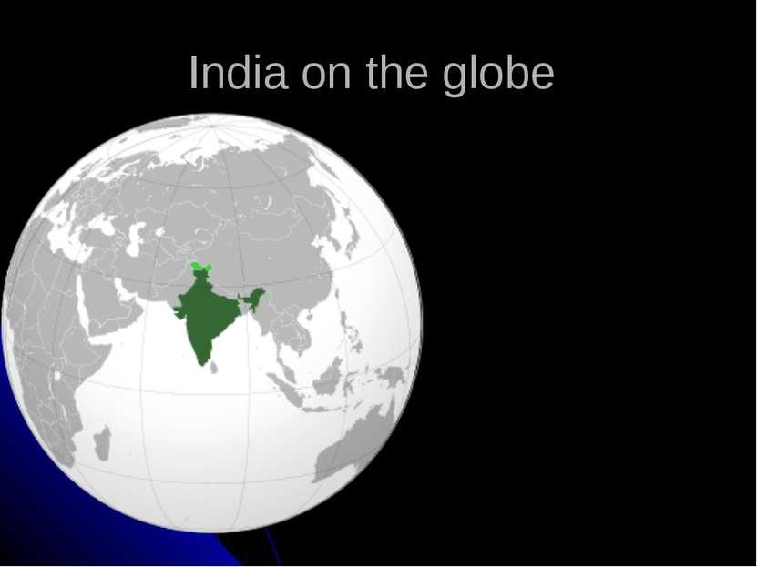India on the globe