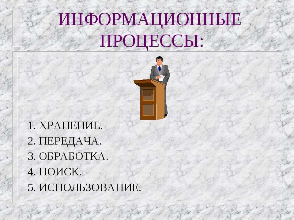 ИНФОРМАЦИОННЫЕ ПРОЦЕССЫ: 1. ХРАНЕНИЕ. 2. ПЕРЕДАЧА. 3. ОБРАБОТКА. 4. ПОИСК. 5....
