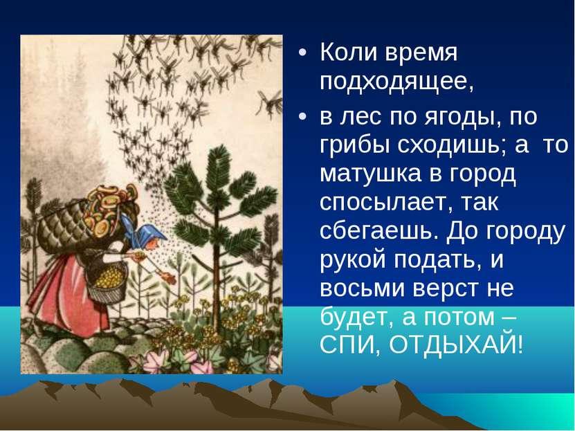 Коли время подходящее, в лес по ягоды, по грибы сходишь; а то матушка в город...