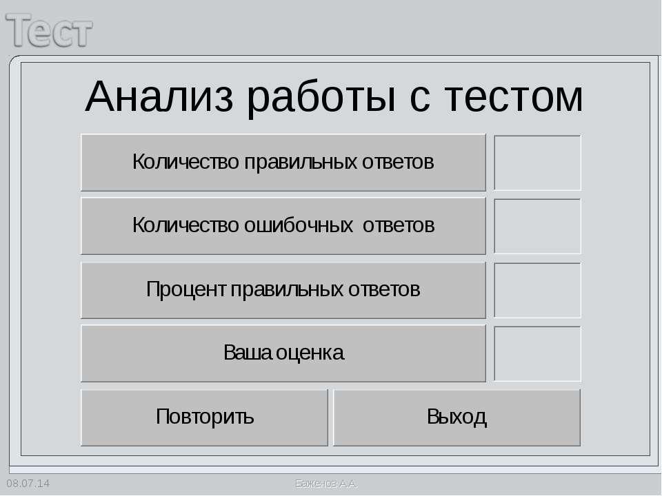 * Анализ работы с тестом