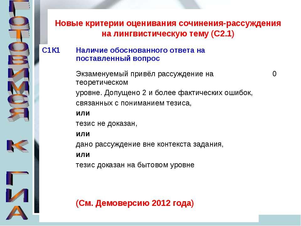 Новые критерии оценивания сочинения-рассуждения на лингвистическую тему (С2.1)