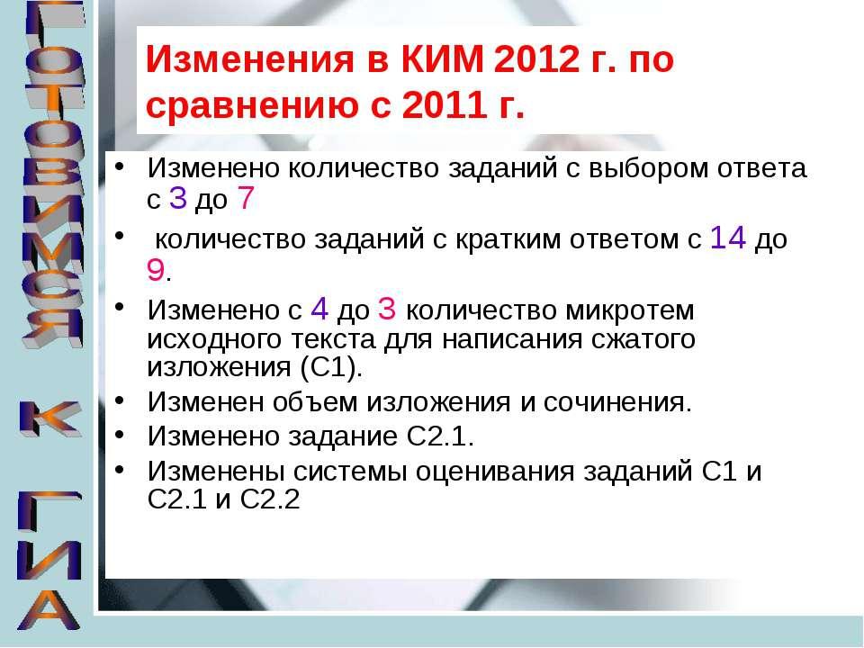 Изменения в КИМ 2012 г. по сравнению с 2011 г. Изменено количество заданий с ...