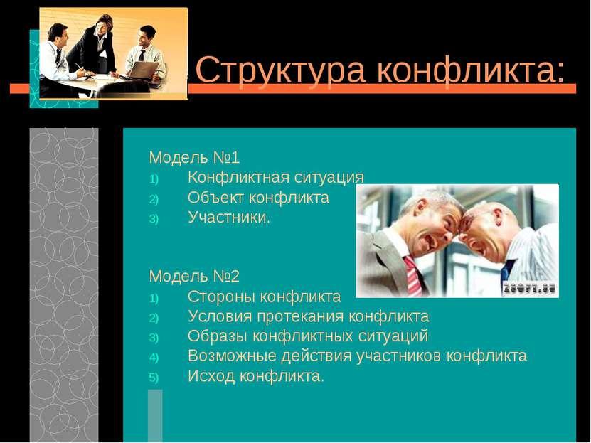 Структура конфликта: Модель №1 Конфликтная ситуация Объект конфликта Участник...