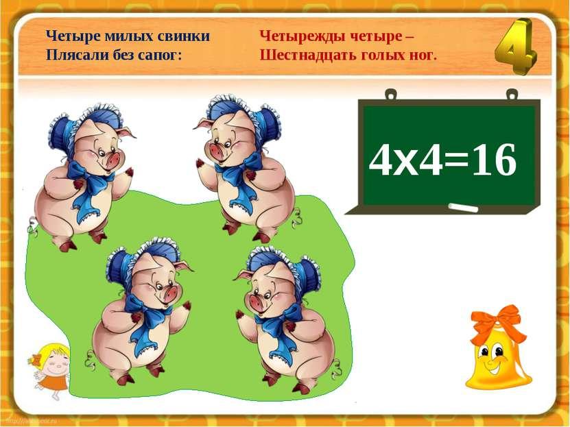 4х4=16 Четыре милых свинки Плясали без сапог: Четырежды четыре – Шестнадцать ...