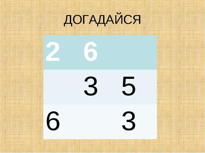 ДОГАДАЙСЯ 2 6 3 5 6 3