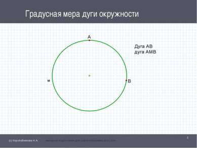Градусная мера дуги окружности * (с) Коробейникова Н.А. материал подготовлен ...