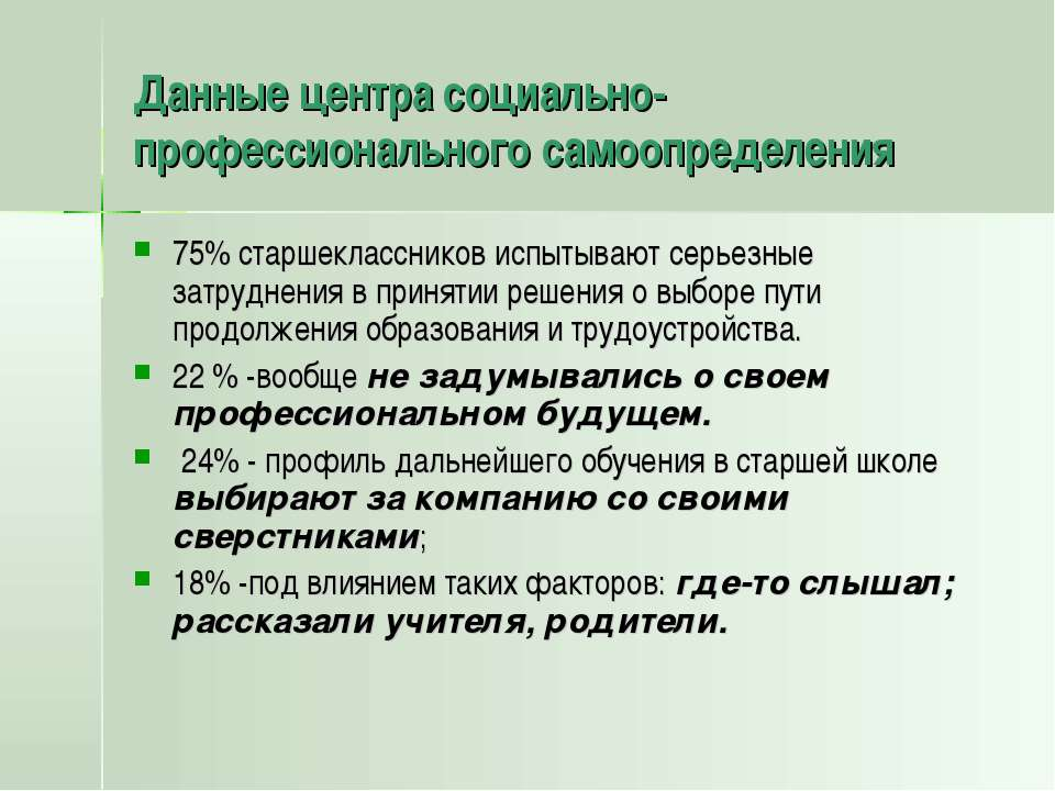 Данные центра социально-профессионального самоопределения 75% старшекласснико...