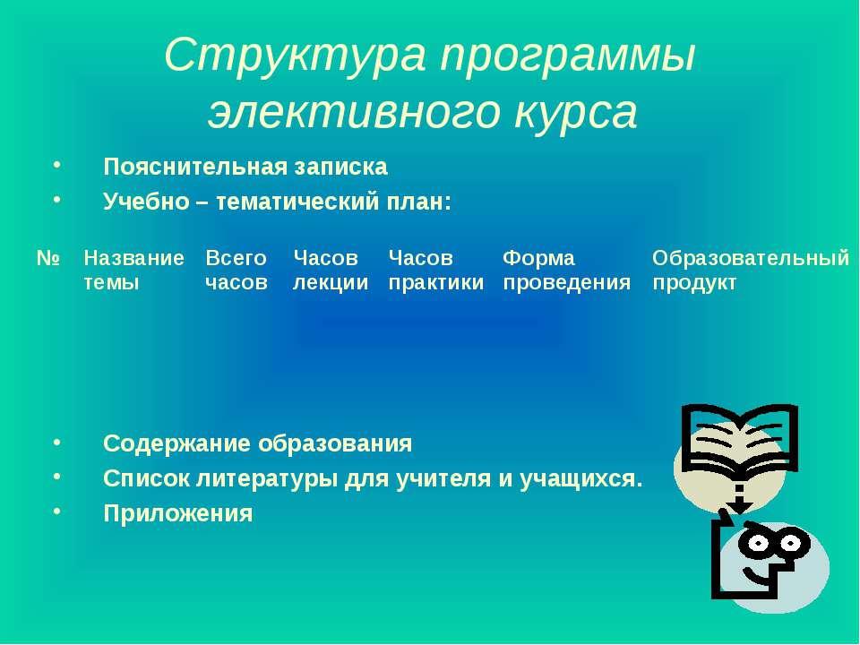Структура программы элективного курса Пояснительная записка Учебно – тематиче...
