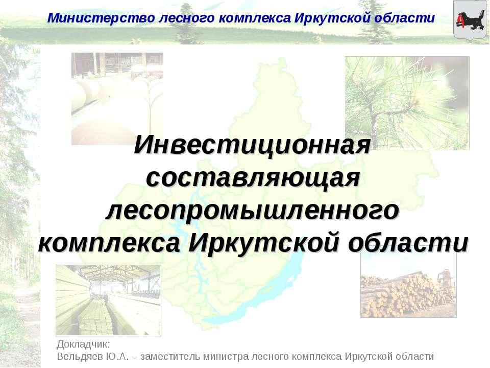Докладчик: Вельдяев Ю.А. – заместитель министра лесного комплекса Иркутской о...