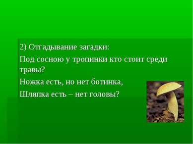2) Отгадывание загадки: Под сосною у тропинки кто стоит среди травы? Ножка ес...