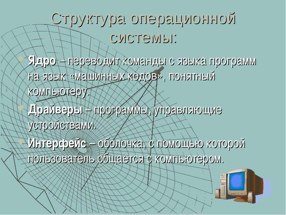 Структура операционной системы: Ядро – переводит команды с языка программ на ...