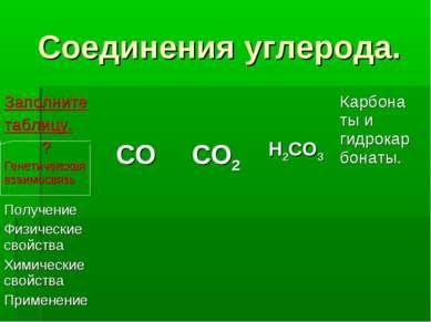 Соединения углерода. Заполните таблицу. ? Генетичекская взаимосвязь CO CO2 H2...