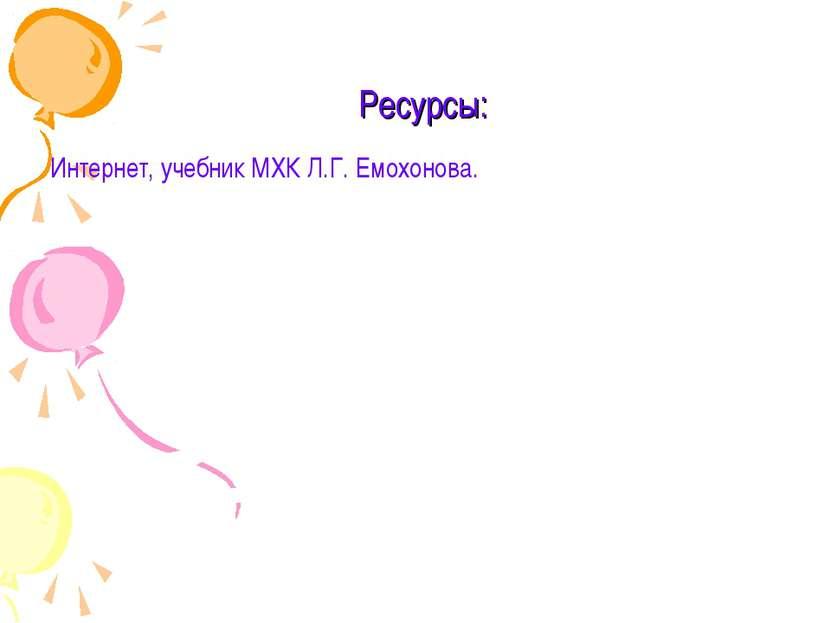 Ресурсы: Интернет, учебник МХК Л.Г. Емохонова.