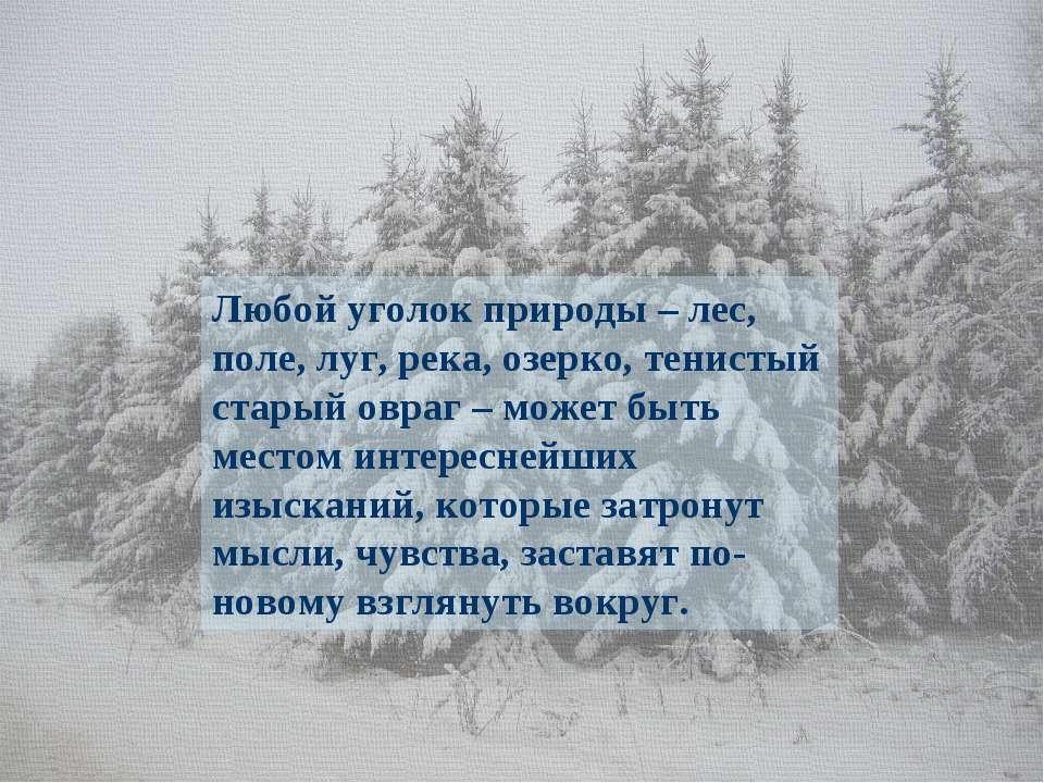 Любой уголок природы – лес, поле, луг, река, озерко, тенистый старый овраг – ...