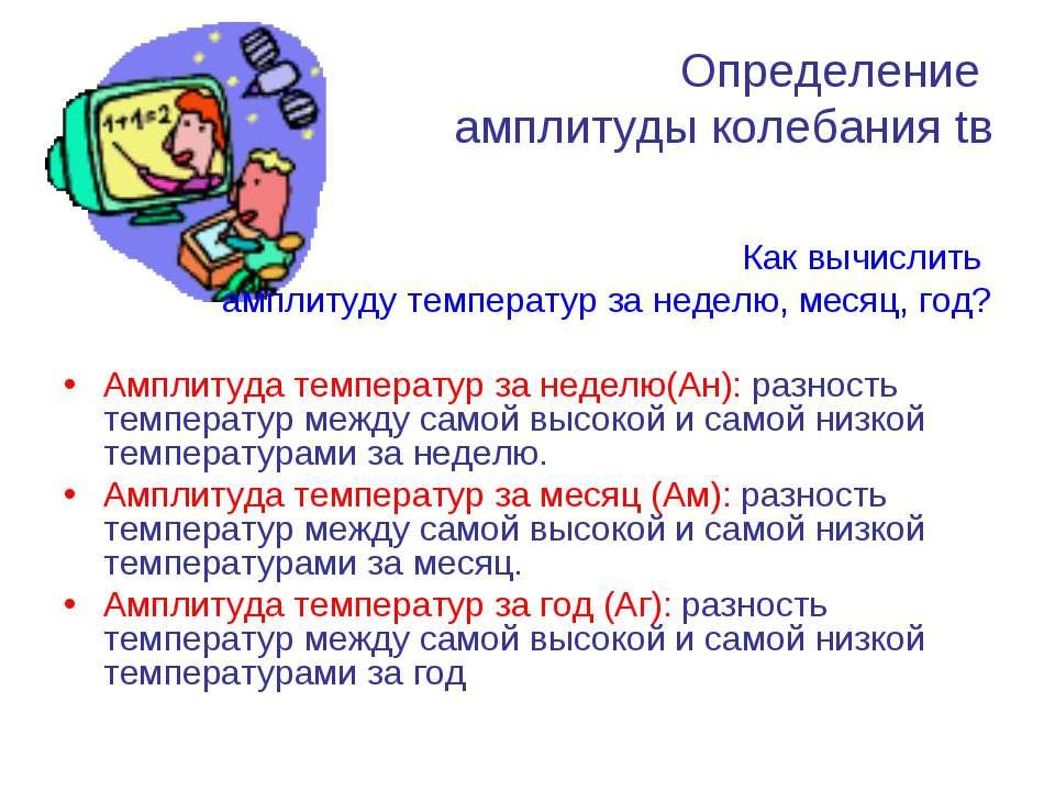 Определение амплитуды колебания tв Как вычислить амплитуду температур за неде...