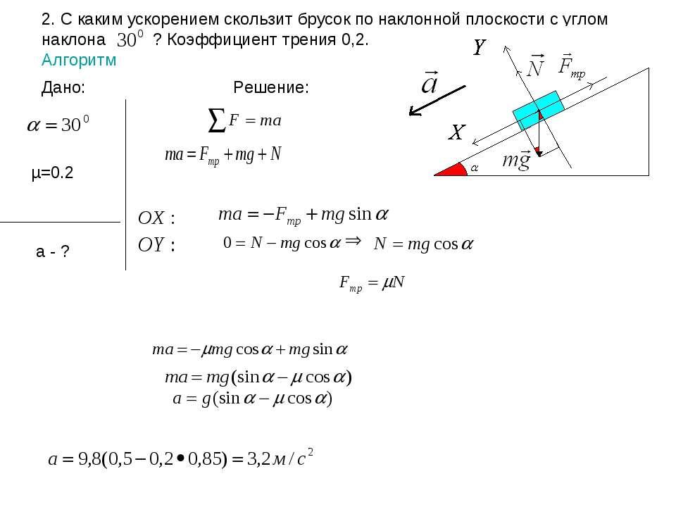 2. С каким ускорением скользит брусок по наклонной плоскости с углом наклона ...