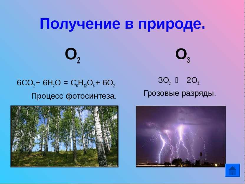 Получение в природе. О2 6СО2 + 6Н2О = С6Н12О6 + 6О2 Процесс фотосинтеза. О3 3...