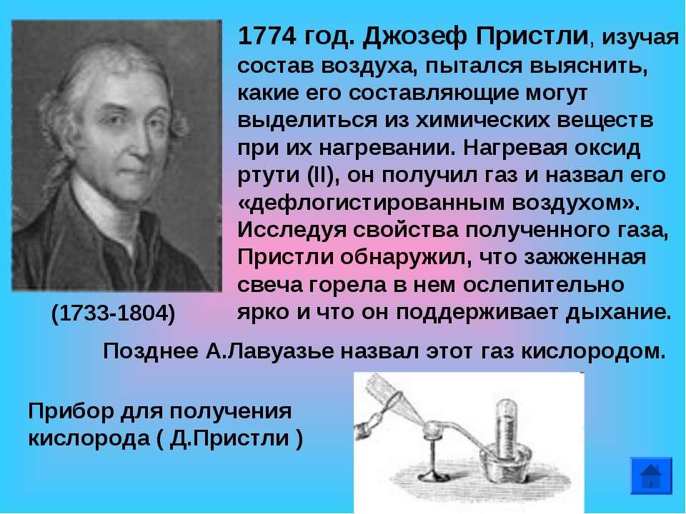 1774 год. Джозеф Пристли, изучая состав воздуха, пытался выяснить, какие его ...