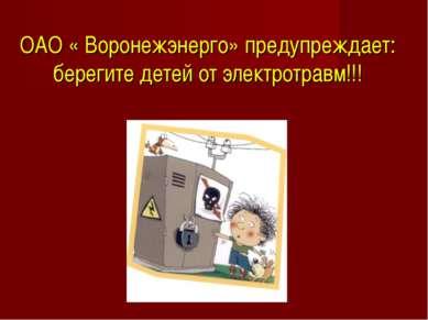 ОАО « Воронежэнерго» предупреждает: берегите детей от электротравм!!!