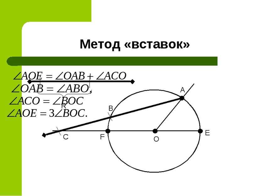 Метод «вставок» O A E F R B C