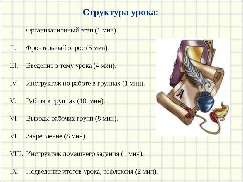 Структура урока: Организационный этап (1 мин). Фронтальный опрос (5 мин). Вве...