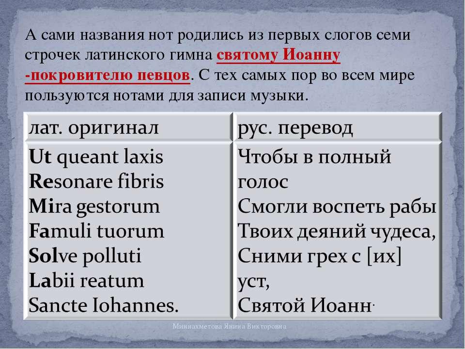 А сами названия нот родились из первых слогов семи строчек латинского гимна с...