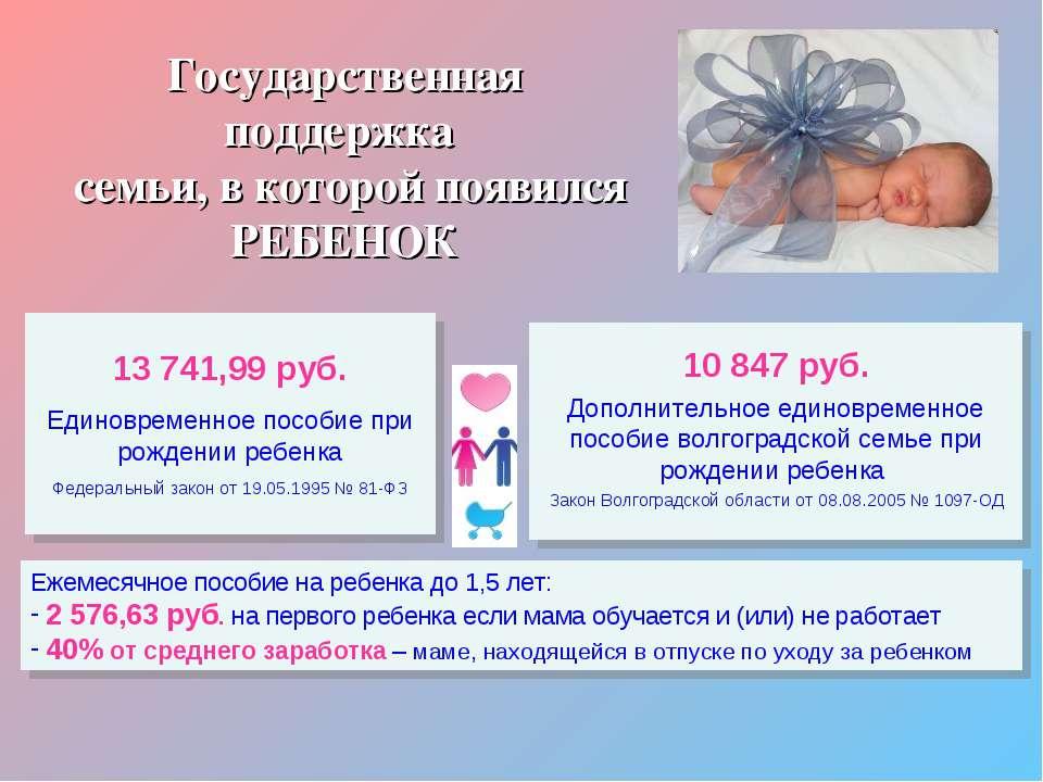 Государственная поддержка семьи, в которой появился РЕБЕНОК 13 741,99 руб. Ед...