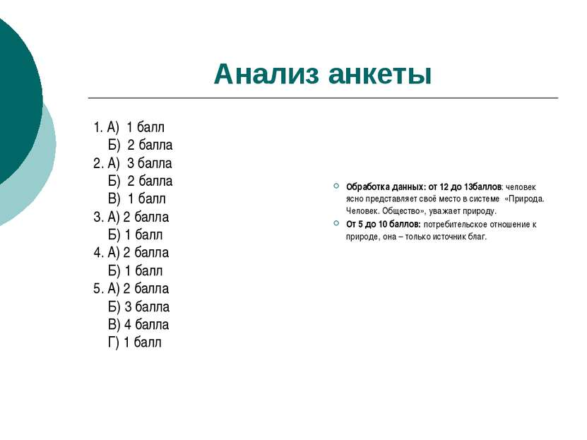 Анализ анкеты 1. А) 1 балл Б) 2 балла 2. А) 3 балла Б) 2 балла В) 1 балл 3. А...