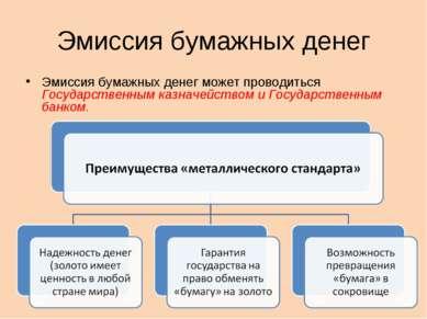 Эмиссия бумажных денег Эмиссия бумажных денег может проводиться Государственн...