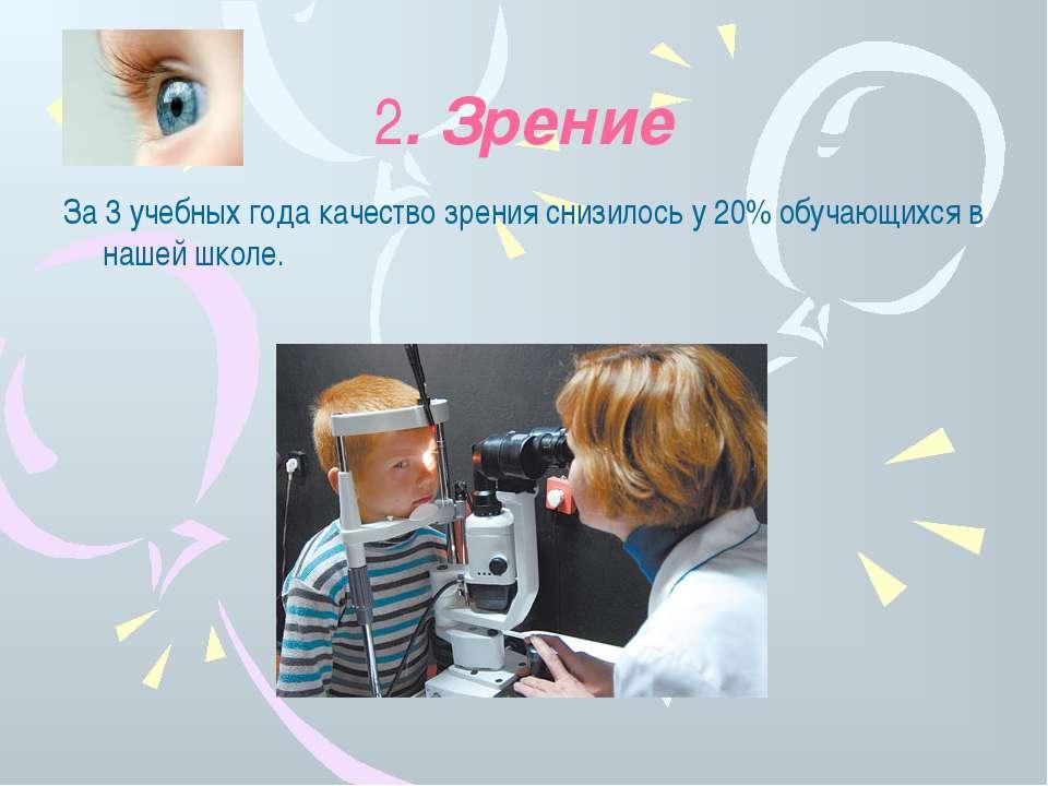 2. Зрение За 3 учебных года качество зрения снизилось у 20% обучающихся в наш...